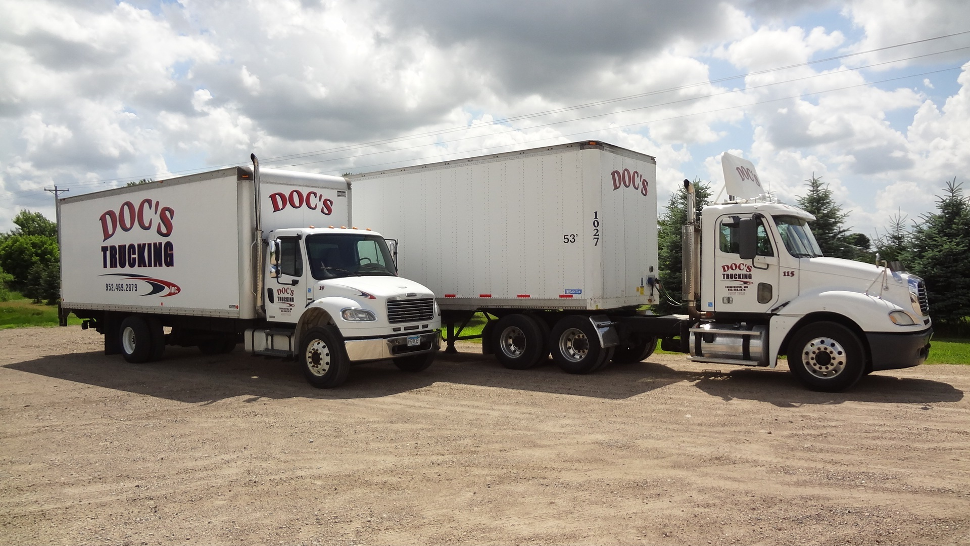 Straight truck and tractor with van trailer at Doc's Trucking in Minnesota